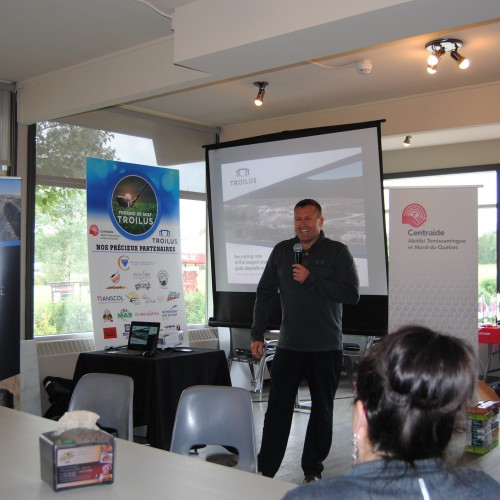 VP Quebec Operations, Daniel Bergeron gives a presentation on Troilus at the United Way Golf Tournament