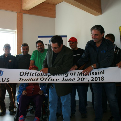 Deputy Chief, Gerald Longchap Cutting the Banner at the Troilus Office Opening in Mistissini – 2018