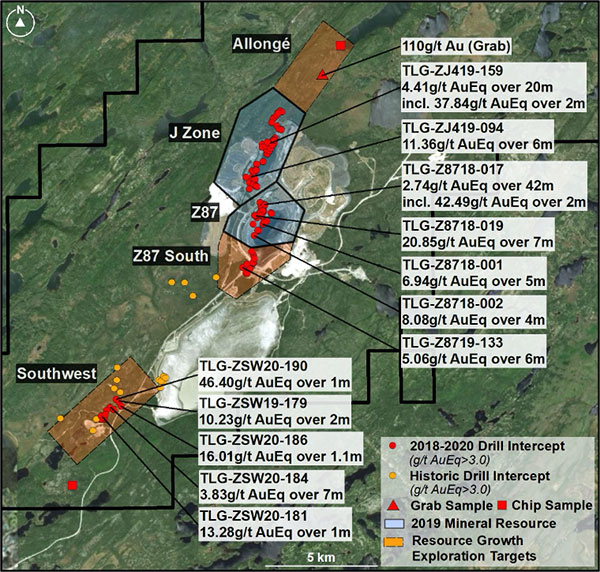 High grade gold occurrences on Troilus property