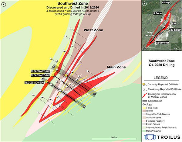 Location of New Drill Hole Results in the Southwest Zone